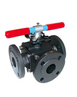 3 ways steel flanged ball valve L port