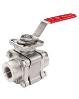 Full bore stainless steel 3 pieces ball valve with ISO mounting plate