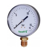 Vertical connection pressure gauge with dry casing