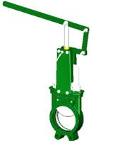 Vanne à guillotine standard – corps fonte – pelle inox 304 – commande par levier