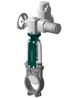 Vanne à guillotine standard – corps et pelle inox 316 – commande par moteur AUMA