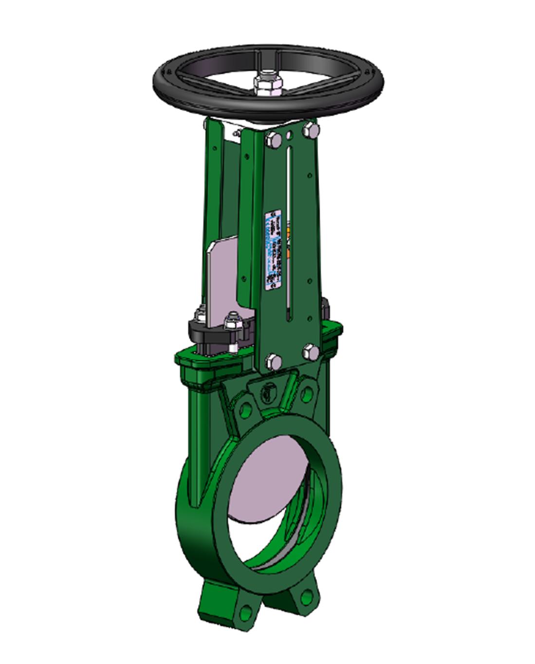Valvula guillotina bidireccional  – cuerpo hierro fundido- acero inoxidable 304 gate – no ascendente Volante -serie 20