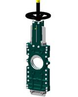 Vanne à guillotine pelle traversante – corps fonte – pelle inox 304 – commande par volant