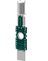 Vanne à guillotine pelle traversante – corps fonte – pelle inox 304 – commande par vérin pneumatique double effet