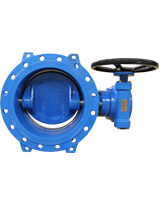 Double flanges butterfly valve PN25 – ductile iron body and disc – manual gearbox operator