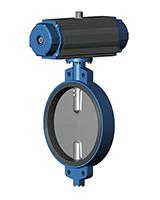对夹式蝶阀PN10 – 球墨铸铁阀体 – 球墨铸铁阀板 -双作用气动执行器