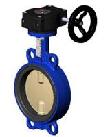 对夹式蝶阀PN16 – 球墨铸铁阀体 – 铜铝合金阀板 – 手动齿轮箱操作