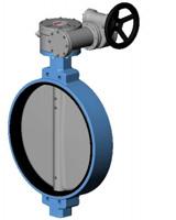 对夹式蝶阀PN16 – 球墨铸铁阀体 – 球墨铸阀板 – 手动齿轮箱操作