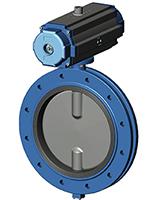 法兰式蝶阀 – 球墨铸铁阀体和阀板 – 双作用气动执行器