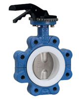 Lugged type butterfly valve – ductile iron body – stainless steel 316 disc – lever operator