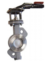 Wafer type butterfly valve double eccentric type PN25 – steel body – stainless steel disc – lever operator