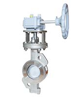 Wafer type butterfly valve double eccentric type PN25 – steel body – stainless steel disc – gearbox operator