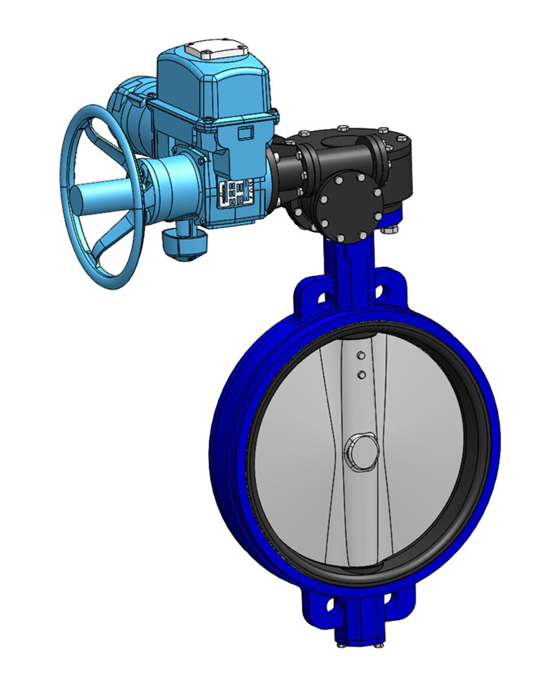 Wafer type butterfly valve PN16 – ductile iron body – ductile iron disc – BERNARD electric operator