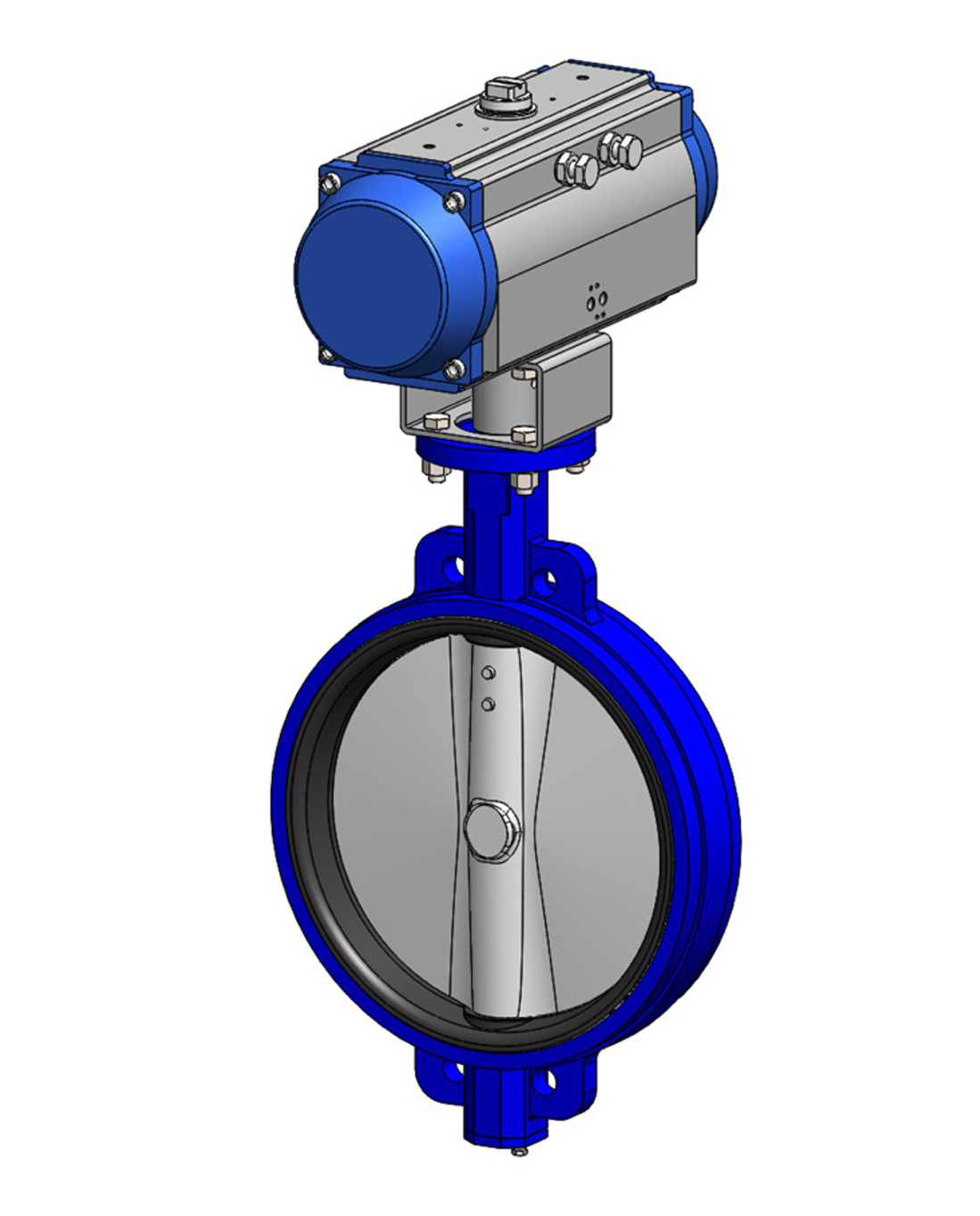 Wafer type butterfly valve PN16 – ductile iron body – ductile iron disc – single acting pneumatic operator