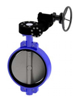 Wafer type butterfly valve PN16 – ductile iron body – stainless steel disc – gearbox operator