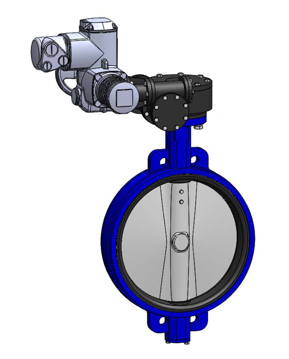 Wafer type butterfly valve PN16 – ductile iron body – stainless steel disc – AUMA electric operator