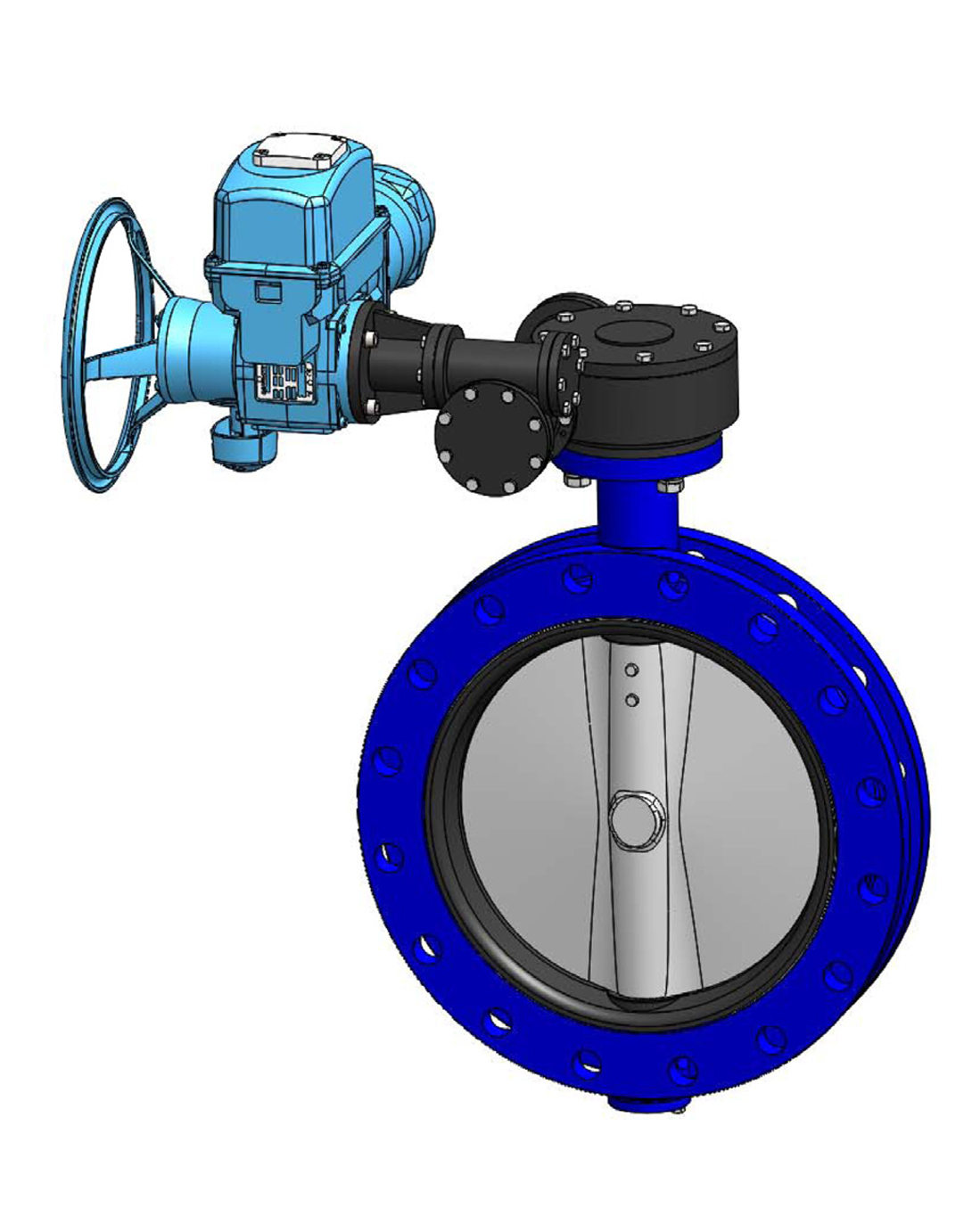 Double flanges type butterfly valve PN10 – ductile iron body – ductile iron disc – BERNARD electric operator
