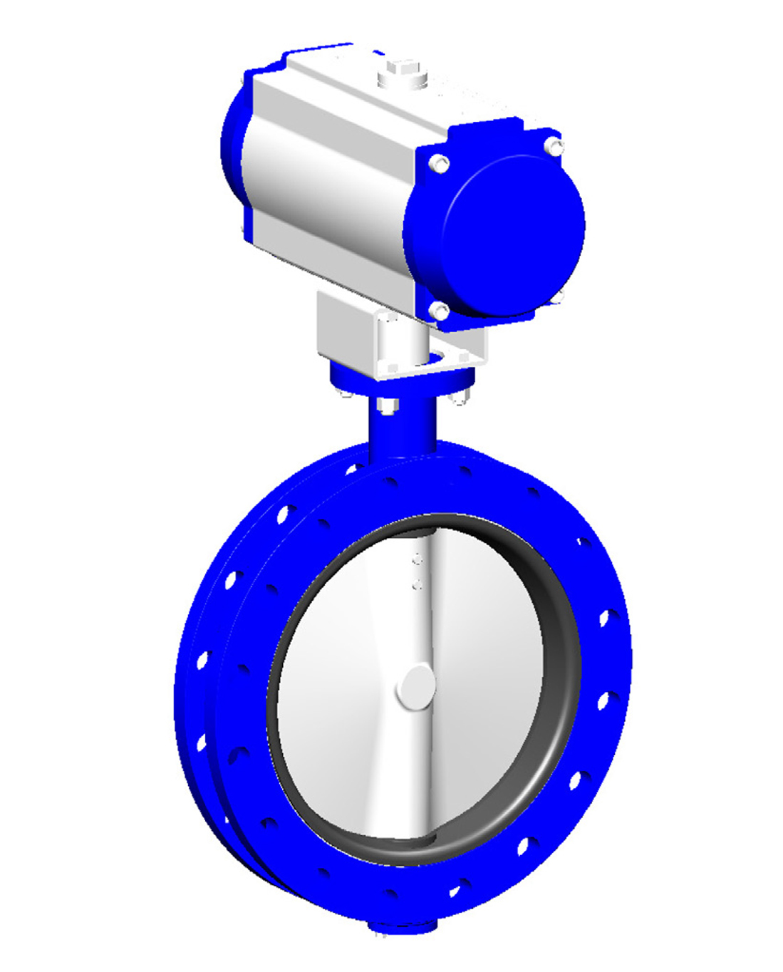 Double flanges type butterfly valve PN10 – ductile iron body – ductile iron disc – single acting pneumatic operator