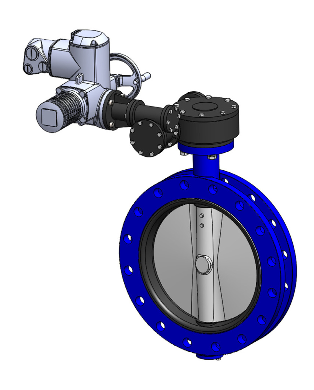 Double flanges type butterfly valve PN10 – ductile iron body – stainless steel disc – AUMA electric operator