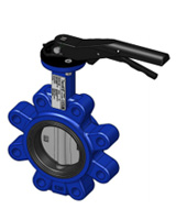 Lugged type butterfly valve – ductile iron body – stainless steel disc – lever operator