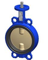 Межфланцевый дисковый поворотный затвор – корпус из чугуна – диск из сплава алюминия с бронзой – с голой осью