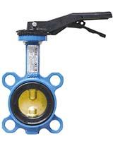 Межфланцевый дисковый поворотный затвор – корпус из чугуна – диск из сплава алюминия с бронзой – с ручкой