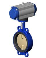Межфланцевый дисковый поворотный затвор – корпус из чугуна – диск из сплава алюминия с бронзой – с пневмоприводом двухстороннего действия