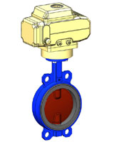 Wafer type butterfly valve – ductile iron body and disc – electric actuator