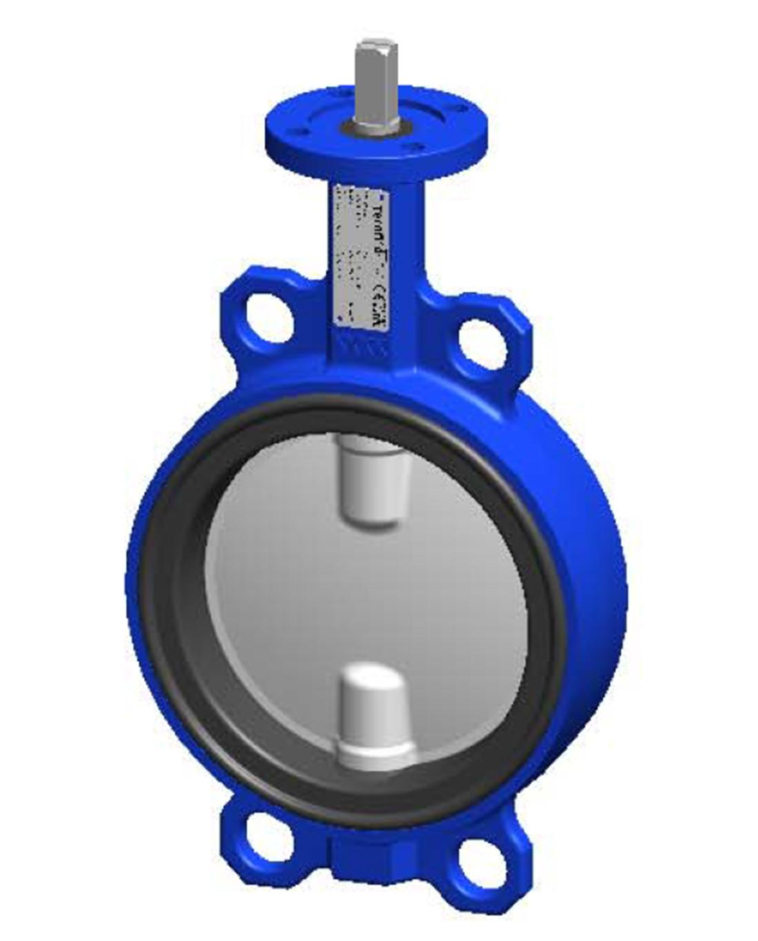 Межфланцевый дисковый поворотный затвор – корпус ковкий чугун – диск из нержавеющей стали 316 – с голой осью