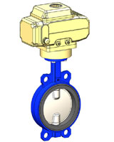 Wafer type butterfly valve – ductile iron body – stainless steel disc – electric actuator