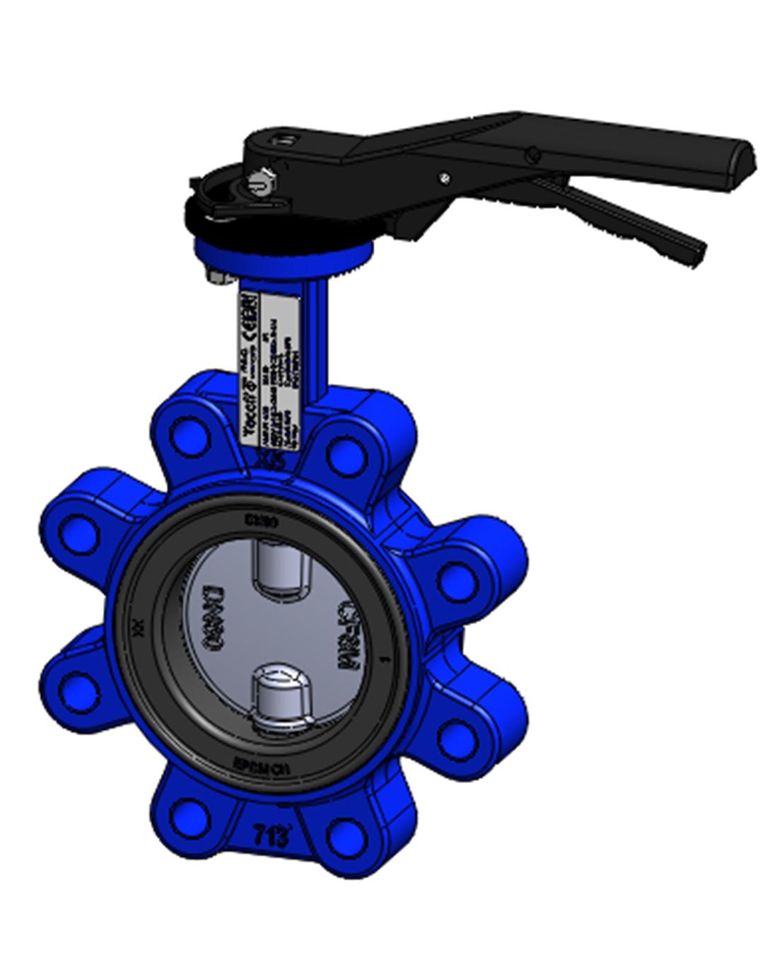 Межфланцевый дисковый поворотный затвор с резьбовыми проушинами PN16 – корпус ковкий чугун – диск из нержавеющей стали 316 – с ручкой
